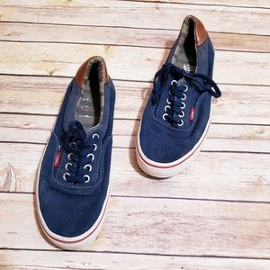 Van's navy blue and stripes lace up shoes unisex